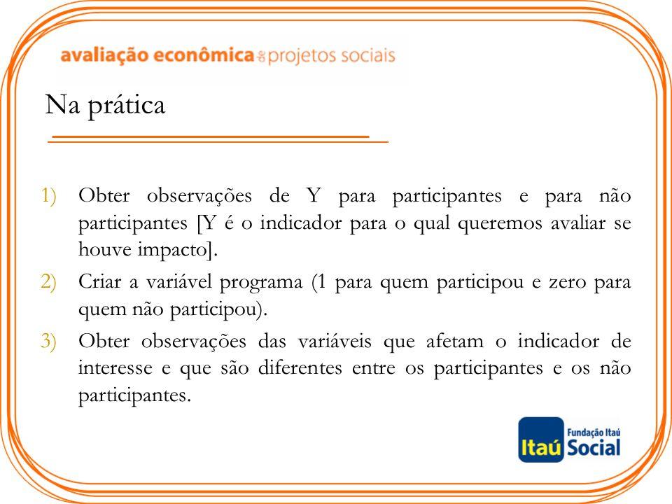 Na prática Obter observações de Y para participantes e para não participantes [Y é o indicador para o qual queremos avaliar se houve impacto].